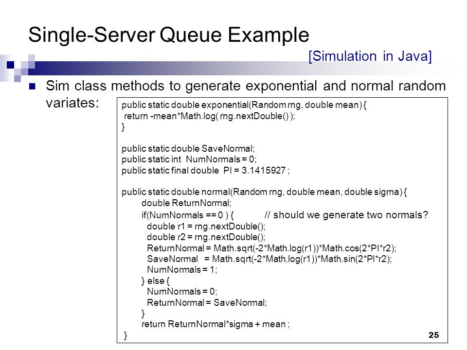 single server queue simulation in java Systems simulation chapter 4: simulation software an example simulation java simulation output single server queue simulation - grocery store checkout counter.